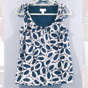 Ann Taylor LOFT Navy Patterned Blouse, Size XS